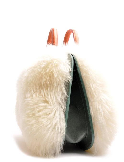 OSTWALD Bags . BUBLE . Tote bag . Icon Bag.  leather bag . white and salvia green. Shop online . Statement Bag .  Fur Bag. Webshop