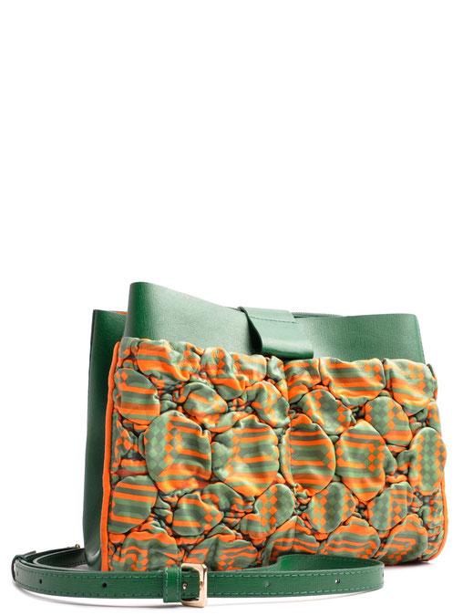 OSTWALD Bags . SHOPPER . Shopper Bag . Leather bag in multicolor . green and orange leather bag . Shop online . Everyday Bag. Webshop