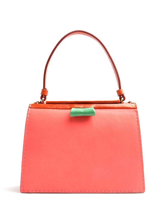OSTWALD Bags . TURTLE EDGE . Tote bag . multicolor . pink, green cognac.  leather bag . Shop online . Statement Bag .  Webshop