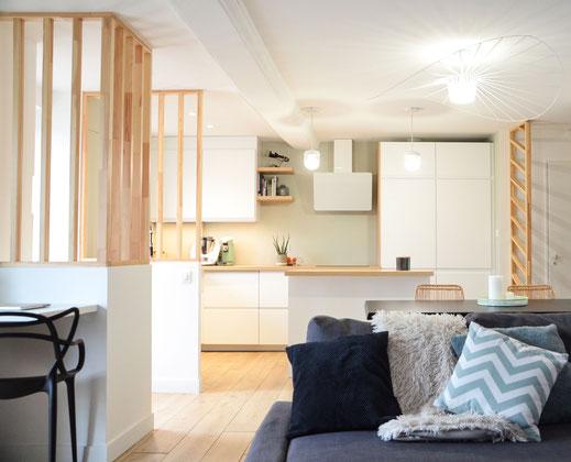 Rebooster votre intérieur - harmonies des couleurs - choix des couleurs - sublimer le lieu - mise en valeur de l'espace - jouer avec les volumes - création d'une cuisine ouverte scandinave