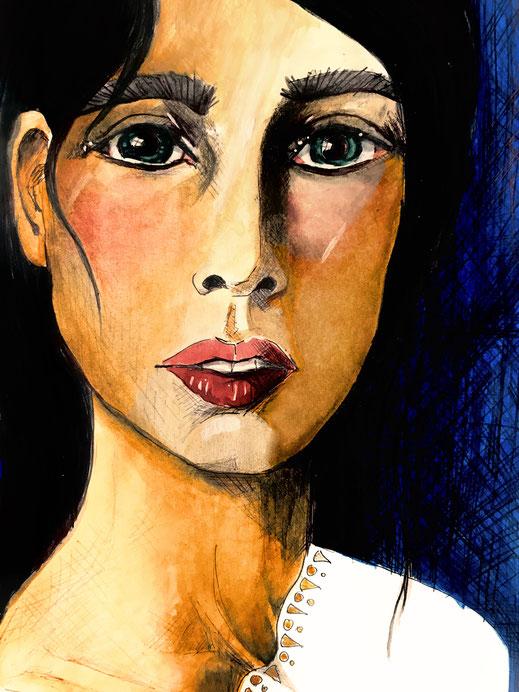 woman_portrait, frauenporträt, frau, gezeichnet, drawn, aquarel, sketch, skizze, illustration