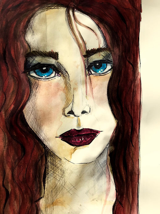 woman_portrait, frauenporträt, frau, gezeichnet, drawn, aquarel, sketch, skizze, illustration