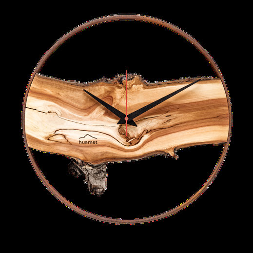 Wanduhr Holz modern aus Südtiroler Apfelholz und Metallring