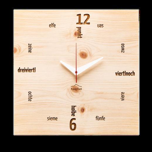 Holz Wanduhr Zirbe modern eckig Dialekt