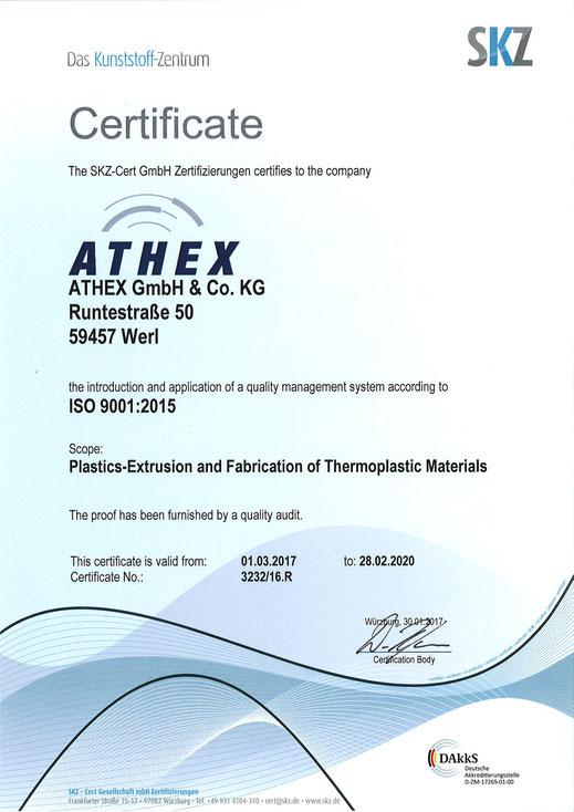 ATHEX – Certification to DIN ISO 9001:2015