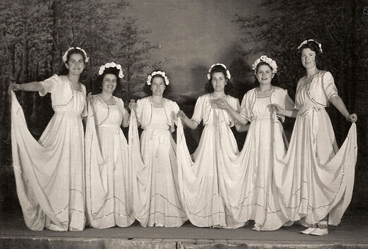 The gymnastics group, the female group around 1945 – 1950. These young ladies liked to pick their own beautiful dresses for their dances