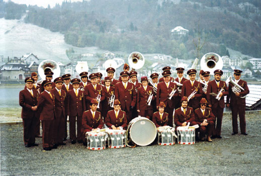 The Echo des Forêts (echo of the forests), a brass band, established in 1922. Here in 1980