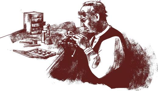 Un orologiaio di Le Pont seduto al suo tavolo di lavoro