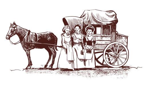 """Les """"Trois Grâces"""", filles ou demoiselles de service d'Edgar Rochat, tenancier de l'hôtel de la Truite"""