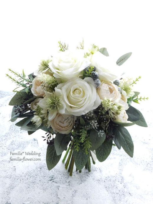 白バラとニゲラのクラッチブーケ造花