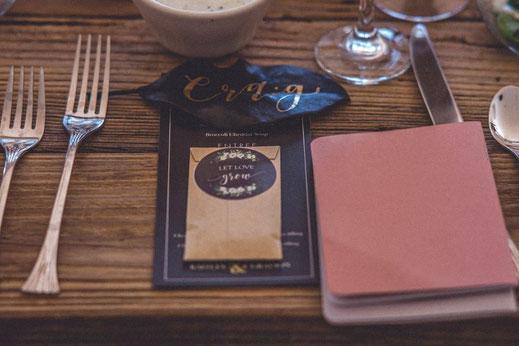 Cette image représente un menu et la carterie jour J d'un mariage réalisé de façon sur-mesure