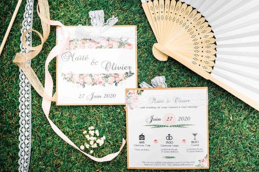 Cette photo représente un faire-part de mariage à Toulouse, thème printanier et champêtre