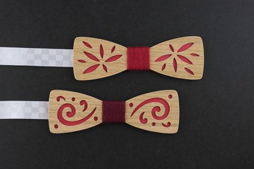 Noeud papillon bois rouge et noir