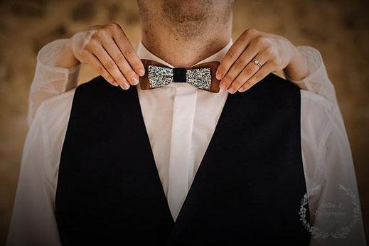 Accessoire wedding noeud pap en bois et tissu liberty bleu marine navy