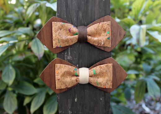 Noeud pap en bois, noeud papillon liège, noeud papillon double bois liège, accessoire mariage, noeud papillon marié
