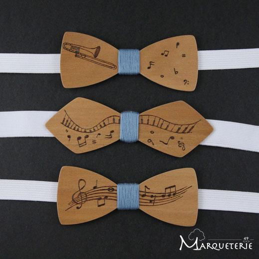 Noeud papillon musique, noeud papillon bois thème musique