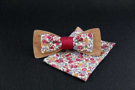 Noeud papillon bois tissu, noeud papillon insolite, accessoire marié, accessoire mariage insolite