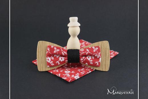 Noeud pap en bois classe accessoire mariage chic noeud papillon bleu clair