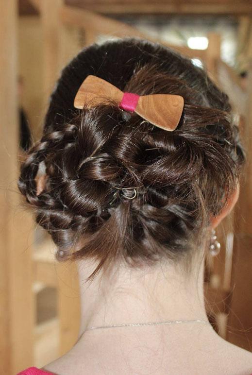 Barrette noeud pap bois, barrette coiffure mariage