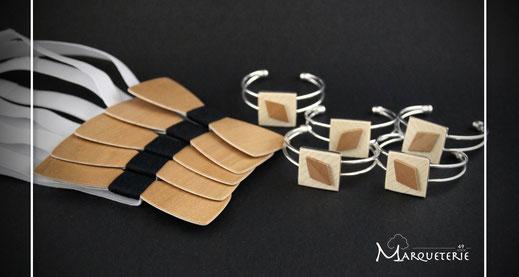 Noeuds papillon bois pour les hommes et bracelets bois pour les femmes