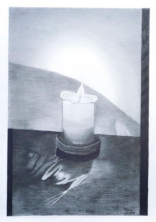 Kerze in der dunklen Zeit, Hochwertiges Zeichenpapier A3