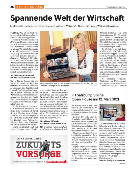 """""""Salzburger Woche"""", 4. März 2021"""