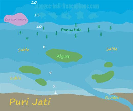 Carte du site de plongée de Puri Jati à Seririt, Bali.