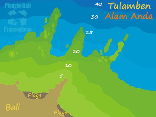 Carte du site de plongée de Alam Anda à Tulamben, Bali.