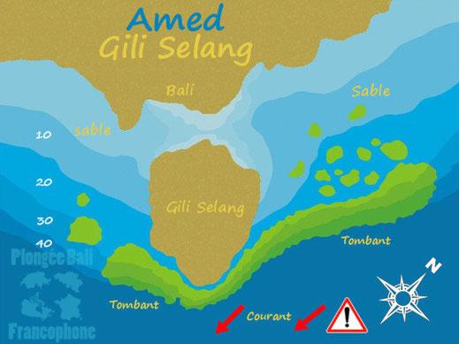 Carte du site de plongée de Gili Selang à Amed, Bali.
