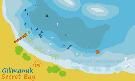 carte du site de plongée Muck de secret bay à gilimanuk, Bali.