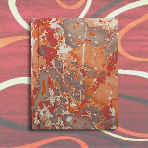 Hand marbled paper Filomena photo album, coral, orane, brown color, standard size
