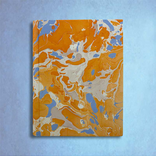 Marbled paper Viviana photo album, blu, orange, standard