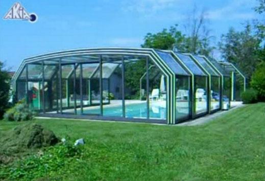 Installation de motorisation pour abri de piscine Haut et lourd Akia BI-TWIN