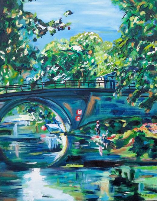 Le pêcheur du Canal - Huile et Pastel par Claire Allard Artiste peintre