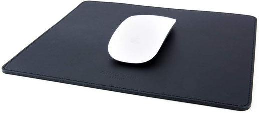 Mousepad aus feinstem Rindsleder in Schwarz