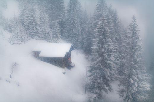 Einsames Holzhaus im Wald voller Schnee in Kandersteg - Foto für private Zwecke, Bilder für Website und Werbezwecke kostenlos lizenzfrei herunterladen.
