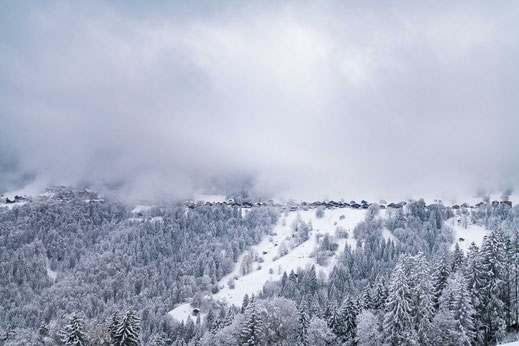Verschneite Häuser in den Schweizer Bergen im Winter