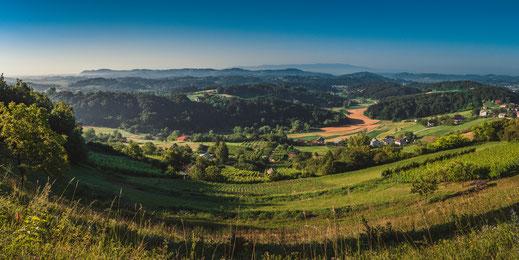 Panoramablick auf eine romantisches Dorf bei Maribor in Slowenien kostenlos herunterladen