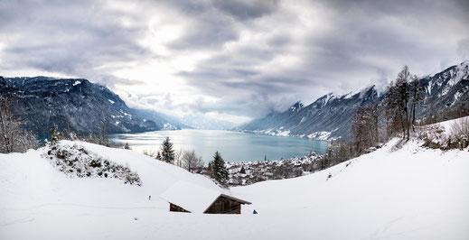 Schweizer Landschaft und Brienzersee vom Berg Schwanderbärgli aus