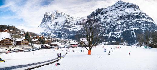 Blick auf die Berglandschaft von Grindelwald in der Schweiz