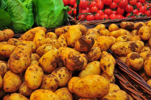 Kartoffel Gemüseverkauf im Bio Gemüseladen in einem Korb