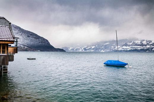 Boot am Thunersee und die Schweizer Landschaft