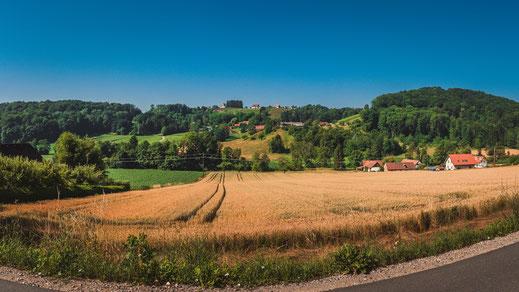 Dorfleben und Landwirtschaft bei Gamlitz in Österreich Kranach Sernau Landschaft Landschaftsaufnahmen Landschaftsfotografie Dorf Steiermark Südösterreich Weizenfeld Weizen Felder Landwirt Panorama Blick Bergluft