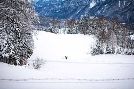 Menschen mit Schlitten im Schnee in der Region Brienz Schweiz