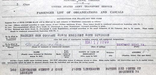 Départ le 17 mai 1918 de Virginie - Departure the may 17, 1918 from Virginia