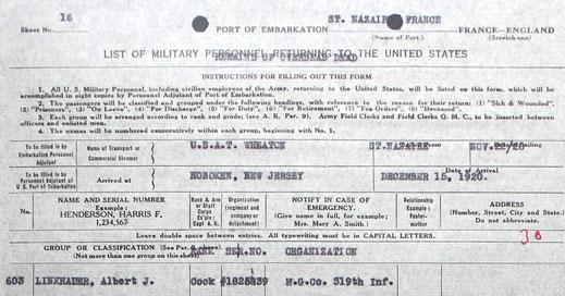 Retour du corps le 22 novembre 1920 - Return of the body november 22, 1920
