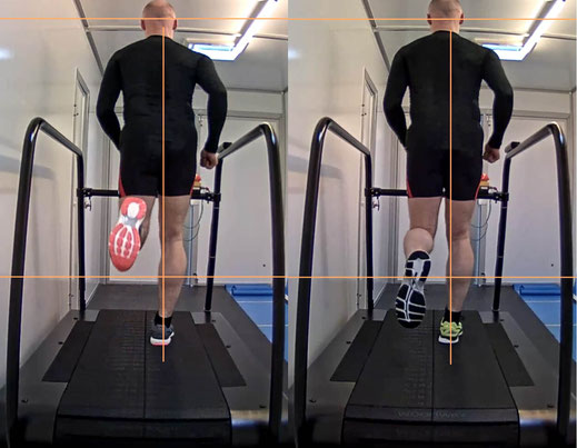 der Läufer trägt nacheinander 2 verschiedene neue Laufschuhe, er läuft in der gleichen Geschwindigkeit, danach wird im Vergleich dieser Videos mit der Dartfish Software visuell der geeignetste Schuh für den Läufer gefunden