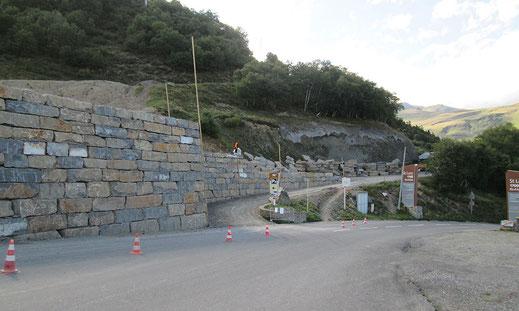 Travaux d'aménagement : soutènement pour la construction du télésiège des bouleaux