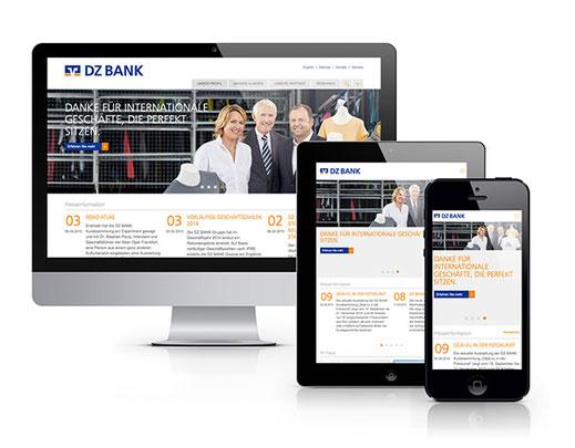 Darstellung der Webseite der DZ-Bank auf verschiedenen Bildschirmgrößen
