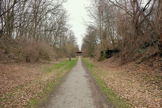Ehemalige Zechenbahn in Oberhausen im Bereich der Jacobi-Zeche im Winter